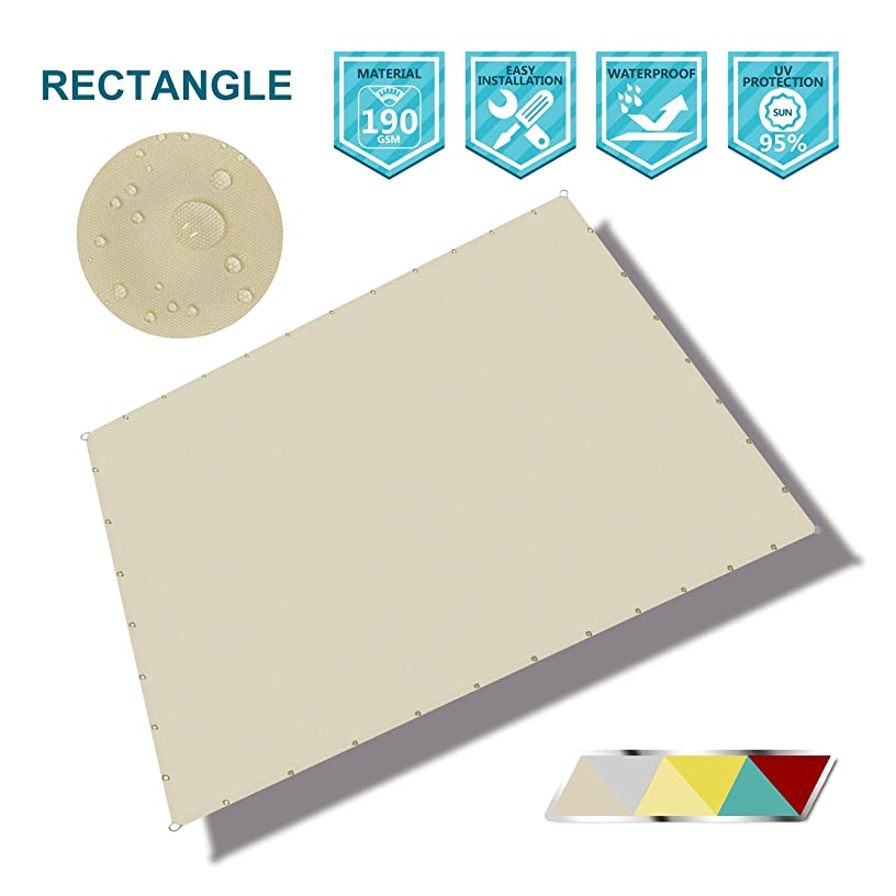 Coarbor Rectangle 12'x16' Straight Edge Waterproof Sun Shade Sail for Pergola Patio Gazebo Pool Awning Canopy Shade Block Direct Sunlight with Grommets- Customized Beige