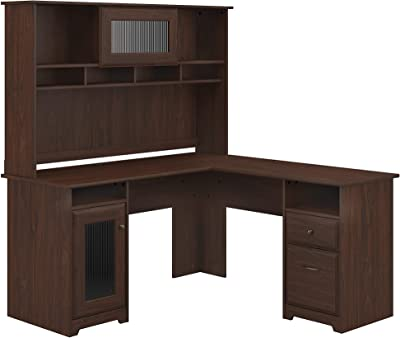 Bush Furniture Cabot L Shape Desk with Hutch, Modern Walnut