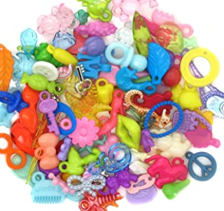 100 Acrylic Charms - Colorful Plastic Charms for Bracelets Slime I Spy Projects - Assortment of Styles and Colors