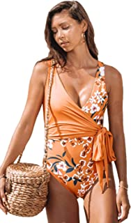 Swimsuit Bathing Suit Costume Swimwear One Piece Plus Size Dresses,Wrapped Deep V-Neck Straps Flowers Prints for Swimming Beach Party Pool Out Running Or Other Occasions