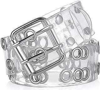 VANVENE Two Row Grommets Transparent Belts for Women Double Pin Buckle PVC Material Strap