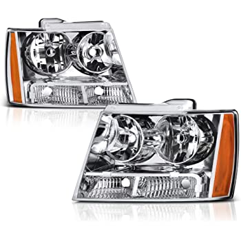 SPPC Black Headlights Assembly For Chevy Tahoe//Suburban//Avalanche High//Low Beam Bulb Included Pair