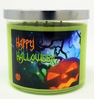 Happy Halloween 3 Wick Scented Soy Wax 12oz, 14.5oz, and 16oz Candles ~ 75 to 100 Hour Burn Time ~ Aromatherapy Soy Candles ~ Non-Toxic ~ Made in USA (14.5, Green (Trick or Treat))