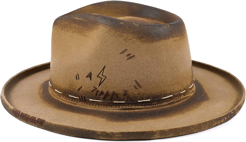 RUEDIGER Fedora Firm Wool Felt Outback Hat for Men Distressed/Burned Handmade