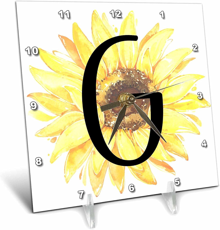 3dRose NEW Monogram G Pretty Image of - Watercolor Desk Under blast sales Cl Sunflower