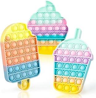 Push Pop Bubble Sensory Fidget اسباب بازی ، اوتیسم نیازهای ویژه استرس ریلیور سیلیکون استرس ضد استرس ، اسباب بازی حسی فشار ، کمک به بازیابی احساسات هدیه برای کودکان بزرگسال (بستنی-3 بسته)