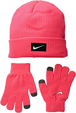 Chrome Swoosh Beanie Gloves Set (Big Kids)