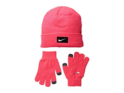 Nike Kids Chrome Swoosh Beanie Gloves Set (Big Kids) (Rush Pink/Metallic Silver) Beanies