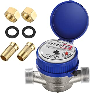 Hemobllo Water Meter Pulsed Output - Accurate Durable Easy to Install Cold Water Meter Water Flow Meter for Indoor Outdoor...