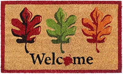 "Rugsmith Multi Machine Tufted Welcome Fall Leaves Doormat, 18"" x 30"", Natural"