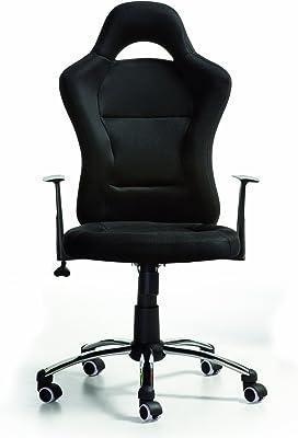 Due-home Silla de oficina estilo deportivo,color negra