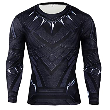 Black Panther T-Shirt, Superhero Shirts for Men Panther Compression Sports Shirt Training Suit, Gym Tight Tops