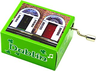 Irish Music Box with Green Shamrock Design and Dublin Doors Image