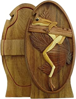 Hanging Tree Frog Coqui Hand-Carved Puzzle Box with No Paints! No Stains! Hidden Felt Lined Interior That hides Jewelry, Gift Cards, or Money. No Two Will Ever be Identical! Pet Carvers