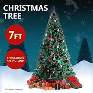 HEMBOR 7FT Artificial Christmas Tree,Premium Xmas Pine Tree with Hanging Ornaments,Solid Metal Stand,Perfect for Indoor Outdoor Home Office Holiday Decoration