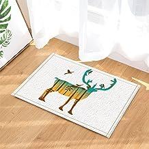 Abstract Animals Decor, Tree Forest Silhouette on Elk with Bird Bath Rugs, Non-Slip Doormat Floor Entryways Indoor Front D...
