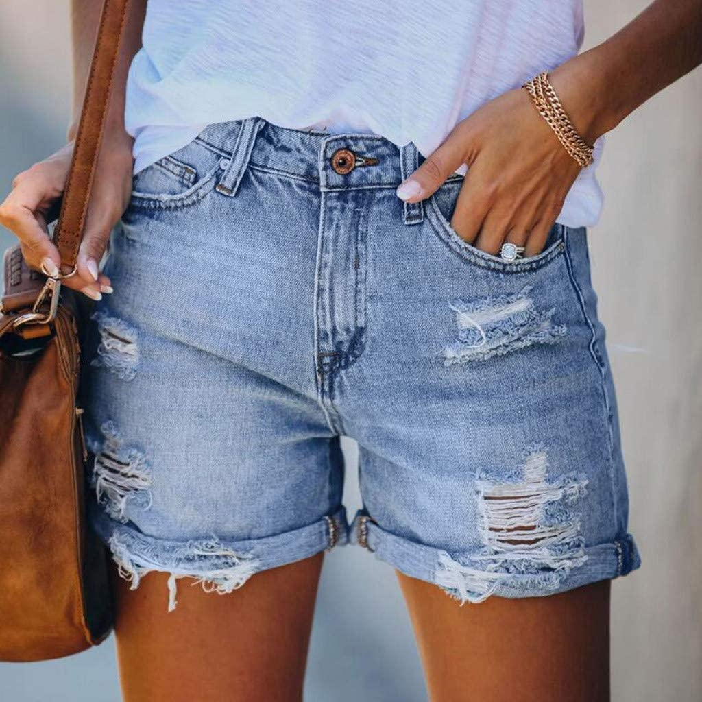 COMVALUE Denim Shorts for Women,Ripped Jean Shorts for Women Mid Waisted Butt Lifting Stretchy Denim Jeans Shorts