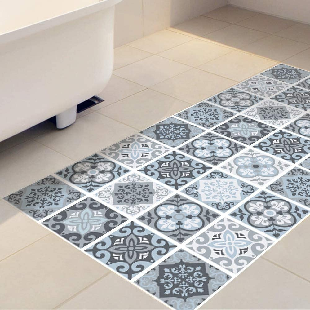 Amazon Com Ysddm Bathroom Mat Mediterranean Style Anti Slip Floor Sticker Decorative Stickers For Bathroom Living Room Kitchen Waterproof Tile Sticker In Decorative Films From Home Garden Blue 60cmx120cmx3pcs Kitchen Dining