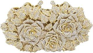 Carrier-bag Lady Ladies Banquet Party Dress Wedding Evening Bag Metal Rhinestone Crystal Rose Flower Styling Clutches Bags Diagonal Shoulder Chain Bag Wallet For Women handbag (Color : Gold)