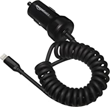 AmazonBasics Coiled Cable Lightning Car Charger, 1.5 Foot, Black