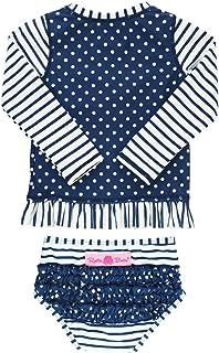 RuffleButts Little Girls Long Sleeve Rash Guard 2-Piece Swimsuit Set - Stripes Polka with UPF 50+ Sun Protection