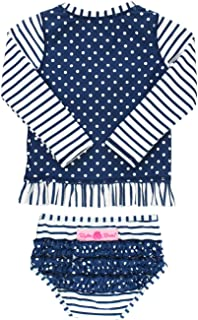 Little Girls Long Sleeve Rash Guard 2-Piece Swimsuit Set - Stripes Polka with UPF 50+ Sun Protection