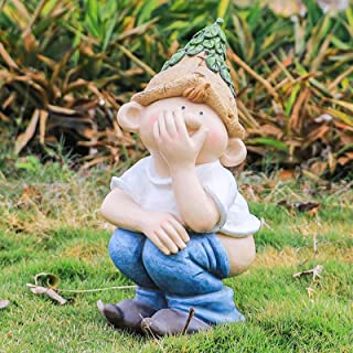 "Peeing Garden Statues,Funny Garden Gnome Miniature Elf Naughty Yard Art Figurines 16"",Outdoor Statue Dwarf Resin Lawn Deco..."