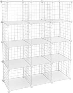 """Best SONGMICS 12 Metal Wire Cube, Shelves Organizer,Stackable Storage Bins, Modular Bookcase, DIY Closet Cabinet Shelf with Rubber Mallet, 36.6"""" L x 12.2"""" W x 48.4"""" H White Review"""