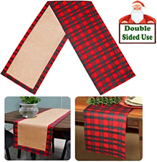 Senneny Christmas Table Runner Tartan Holly Plaid Table Runner Cotton & Burlap Reversible Table Runner for Christmas Holiday Family Gatherings Birthday Party Home Decoration, 14 x 72 Inch