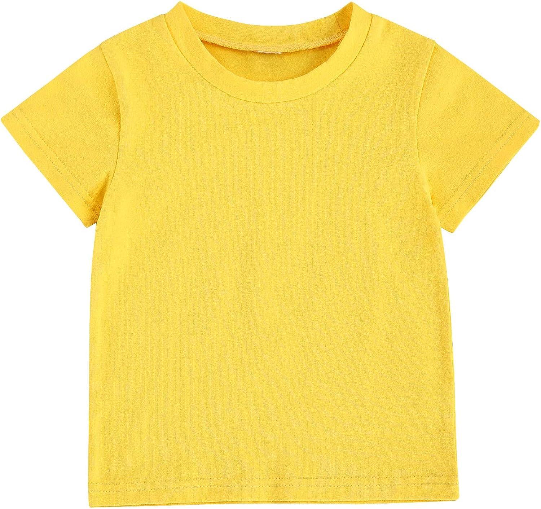 Toddler Baby Girls Boys Cartoons Cotton Basic T Shirts Tops Shorts Sleeve Tee Shirt Baby Summer Clothes