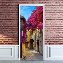 Tifege Adesivo de parede mural para porta de parede DIY Decoração de casa Pôster 3D Arte Decoração Removível Provence Flor...