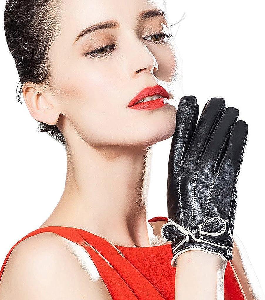 CASF Women's Winter Genuine Lambskin Leather Gloves For Women Luxury Black