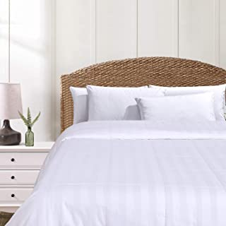 HOMBYS 100% Mulberry Silk Comforter King Size - All Season White Classic Stripe Duvet Insert with Corner Tabs 100% Cotton Cover - Allergy Free Summer Quilt Cooling Lightweight 90×106inch