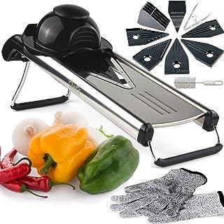 Mandolina de Cocina de Chef's INSPIRATIONS. Incluye 6 insertos, cepillo de limpieza y cubierta de seguridad de la cuchilla. Acero Inoxidable