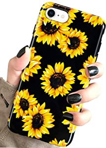 J.west iPhone SE 2020 Case,iPhone 8 & iPhone 7 Case, Vintage Floral Sunflowers Black Soft Cover for Girls Women Pattern Design Drop Protective Case for iPhone 7/8 iPhone SE 2nd gen 4.7 inch Sunflowers
