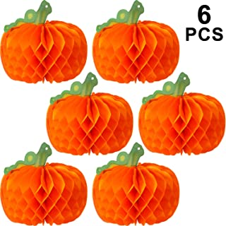 WILLBOND 6 Pieces Halloween Decor 3D Paper Pumpkin Honeycomb Decorations with Punch for Halloween Thanksgiving Party Table Centerpieces Decoration (Green)