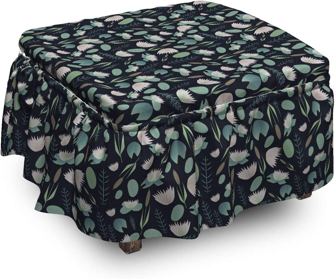 Ambesonne Asian Leaves Ottoman Sale price Cover Elements Columbus Mall 2 Pi from Lake a