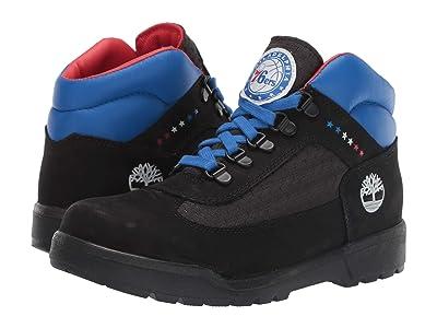 Timberland Kids Philadelphia 76ers Field Boot (Big Kid) (Black Fabric/Leather) Boys Shoes