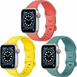 Paquete de 3 correas para Apple Watch compatibles con Apple Watch 38 mm, 42 mm, 40 mm, 44 mm, correa de silicona suave par...