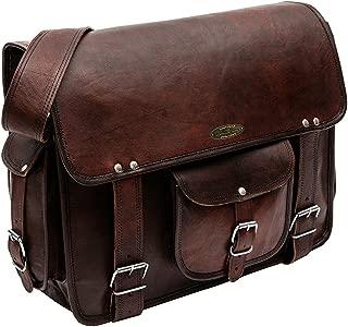 Handmade World Rugged Vintage Laptop Messenger Bag for Men - Men's Leather Messenger Bag - Genuine Handcrafted Leather Messenger Satchel Shoulder Cross-body Bag for 15 Inch Laptop Macbook Computer