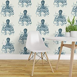 Spoonflower Peel and Stick Removable Wallpaper, Blue Octopus Ocean Cephalopod Tentacles Squid Nautical Biology Beach Print, Self-Adhesive Wallpaper 12in x 24in Test Swatch