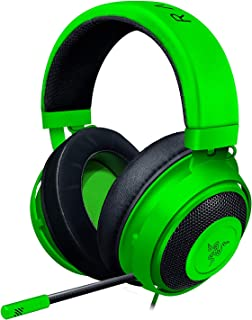 Razer Kraken Auriculares Gaming con cable para juegos multiplataforma para PC, PS4, Xbox One & Switch, Diafragma 50 mm, Cable de 3.5mm con controles de línea, Verde