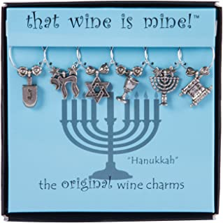 Wine Things WT-1625 Hanukkah Wine Charms, Fits neatly around stem, Multi-Color