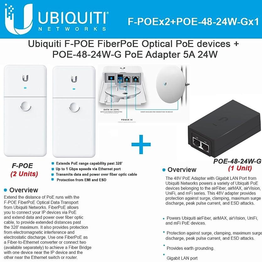 シリーズ追う不良Ubiquiti f-poe 2パックfiberpoe光学Poeデバイス+ poe-48?–?24?W-gアダプタ5?A 24?W