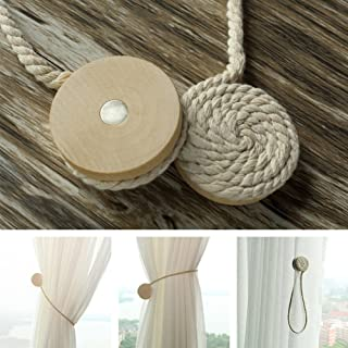 YOTHG Magnetic Curtain Tiebacks,Curtain Rope Clips Drapery Tiebacks Decorative Wooden Ball Cotton Rope Curtain Holder Holdbacks Buckles Strap Accessories(2pcs,White)