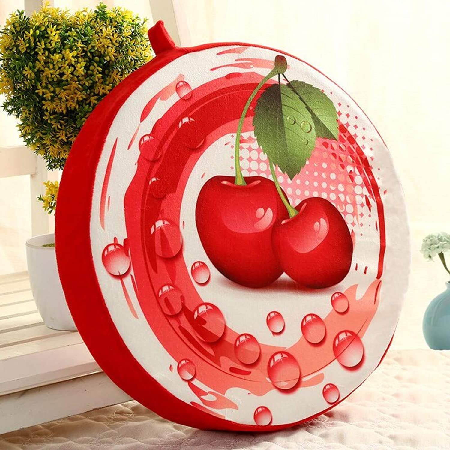Der Creative Thick Fruit Cushion,Cartoon Cute Seat Cushioning,Office Round Cushion Dining Chair Cushion Thick pad Nonlip seat Mat for Bedroom (color   L, Size   Diamete39x7cm(15x3inch))