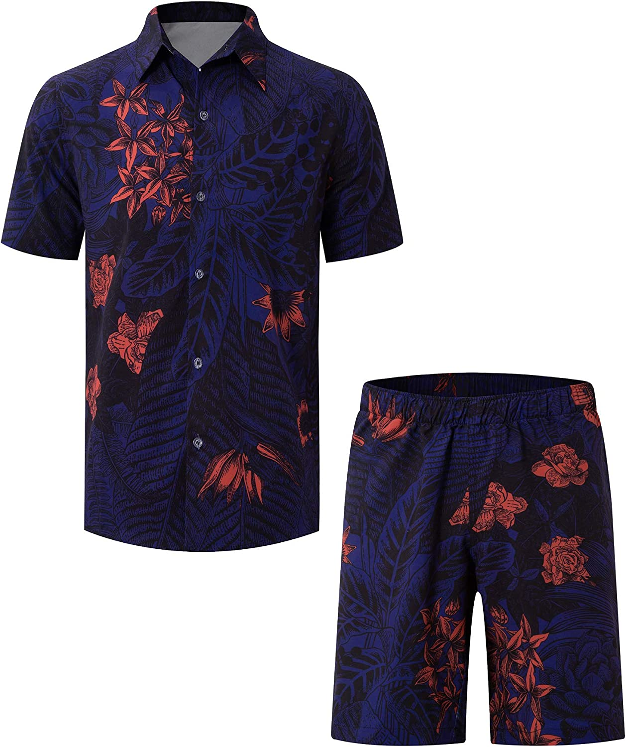 huan Full Sublimation 2-Piece Sportswear Hawaiian Shirt and Shorts Set Breathless Suit for Men's Suit