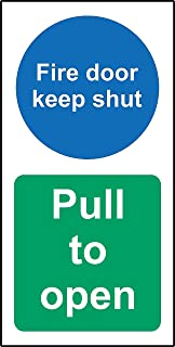 Fire door keep shut - Pull to open Safety sign - 1.2mm Rigid plastic 200mm x 100mm by KPCM Display