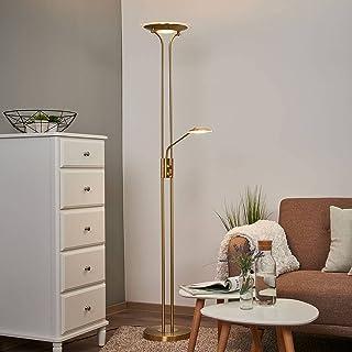 LED Lampadaire 'Aras' à intensité variable en Doré en Métal e. a. pour Salon & Salle à manger   Lampadaire Sur Pied, Lampe...