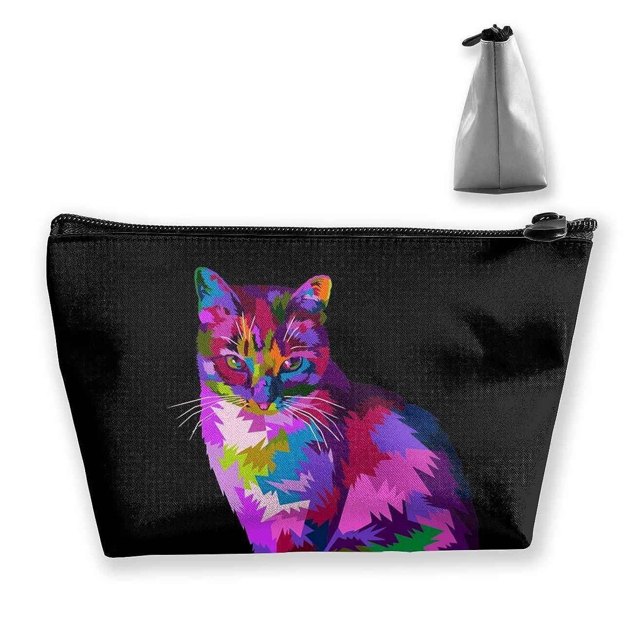 で出来ているオプショナル累計動物猫銀河 ペンケース文房具バッグ大容量ペンケース化粧品袋収納袋男の子と女の子多機能浴室シャワーバッグ旅行ポータブルストレージバッグ